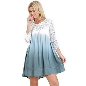 Umgee Ombre Lace Bell Sleeve Shift Dress Medium